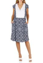 adam&eve; - Darci Filagree Print Dress Blue and White