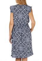 adam&eve; - Darci Filagree Print Dress Blue and White