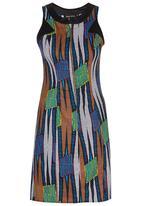 Black Velvet - African Print Zip Inset Dress Navy