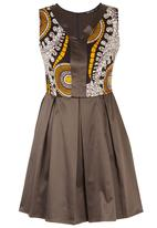 Black Velvet - African Print Combo Skater Dress Mid Brown