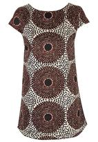 Black Velvet - African Print Tie Back Tunic Mid Brown