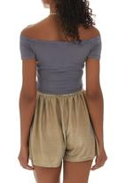 c(inch) - Off-the-shoulder Cropped Tank Top Mid Grey Mid Grey
