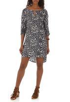 Bukamina - Keyhole Tunic Dress Animal Print