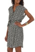 Bukamina - Aztec Print Shirt Dress Black and White