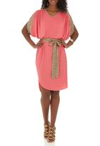 RUFF TUNG - Amber V-neck Dress Cerise Pink