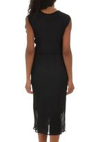 RUFF TUNG - Mono Twist Pleat Dress Black and White
