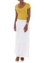 edit - Smocked Maxi Skirt White