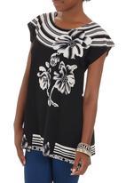Revenge - Floral Tunic Black and White
