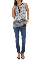 G Couture - Sleeveless Printed Top Mid Blue