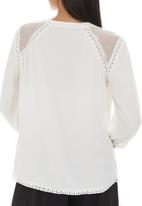 G Couture - Mixed Fabric Blouse Milk