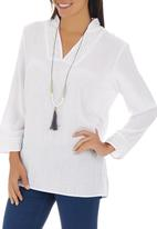 G Couture - Linen Tunic with Crochet Detail White