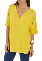 G Couture - Centre Zip Oversized Tee Yellow