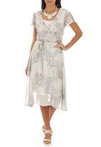 edit - Printed Cross-over Frill Dress Multi-colour