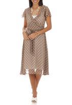 edit - Polka Dot Cross-over Frill Dress Stone/Beige