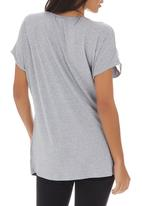 G Couture - Mixed Fabric Top Mid Grey