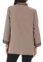 G Couture - Linen Tunic with Crochet Detail Stone/Beige