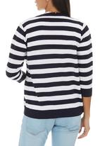 edit - Stripe Basic Cardigan Blue and White