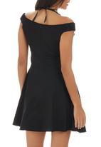 ELIGERE - Bardot Mini Dress Black