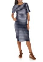 edit Maternity - Double Layer Bodycon Dress Blue and White