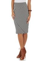 STYLE REPUBLIC - Stripe Asymmetrical Tube Skirt Black and White