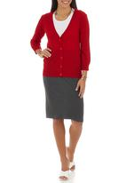 edit - Basic Cardigan Red