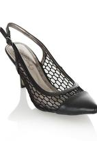 Miss Black - Pointy Mesh Sling-back Heels Black