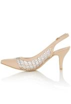 Miss Black - Pointy Mesh Sling-back Heels Neutral