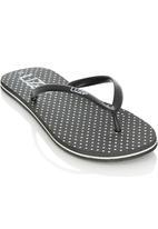 Lizzy - Polka Dot Flip Flops Black