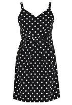 adam&eve; - Gian Polka Dot Print Dress Black and White