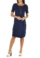 edit Maternity - Draped Wrap Dress Navy