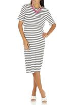edit Maternity - Double Layer Bodycon Dress Black and White