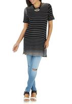 edit Maternity - Tunic Top with Side Slits Black and White