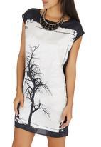 Cheryl Arthur - Tree Digital Print Tunic Black and White