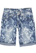 POP CANDY - Tripical Print Denim Shorts Mid Blue