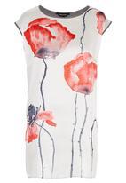 Cheryl Arthur - Poppy Digital Print Tunic White