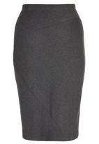 STYLE REPUBLIC - Asymmetrical Tube Skirt Dark Grey