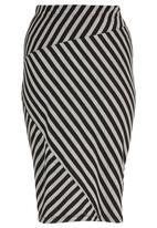 STYLE REPUBLIC - Stripe Asymmetrical Tube Skirt Black
