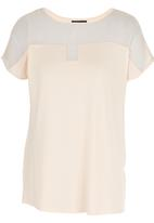 G Couture - Mixed Fabric Top Mid Pink