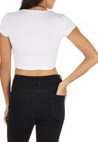 c(inch) - Crop T-shirt White