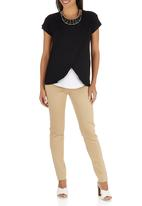 edit Maternity - Nursing T-shirt with Wrap Overlay Black and White