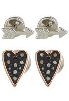 Fossil Jewellery - Heart & Arrow Earring Studs Silver