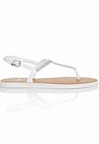 That's it - Diamante T-bar Sandals White