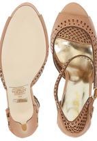 Sam Star - Leather High Heel Sandals with Platform Camel/Tan