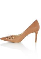 Sam Star - Leather Laser Cut Court Shoes Camel/Tan