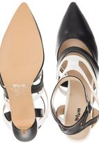 Plum - Pointed Toe Ankle Strap Heels Black and White