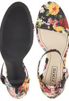 Zoom - Floral Print Ankle Strap High Heels Multi-colour
