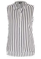 STYLE REPUBLIC - Stripe Sleeveless Shirt Blue and White