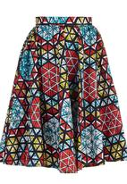 STYLE REPUBLIC - African Print Exaggerated Midi Skirt Multi-colour