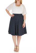 STYLE REPUBLIC - Basic Fit and Flair Skirt Blue and White