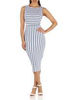 STYLE REPUBLIC - Stripe Open Back Bodycon Blue and White